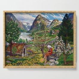 Alpine Lake Landscape, 'Girl, Springtime & Marigolds' by Nikolai Astrup Serving Tray