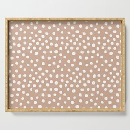 Dots - almond, muted, rust, earth tones, brown, muted, painted dots, painterly, minimal, simple pattern Serving Tray