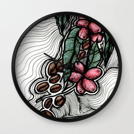Coffee: from flower to toasted grain doodle (2) Wall Clock
