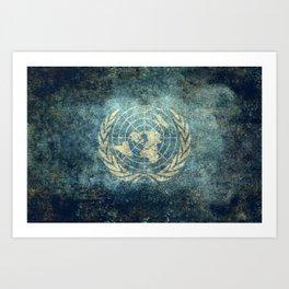 United Nations Flag - Vintage version Art Print