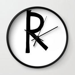 R Monogram (Hand 2) Wall Clock