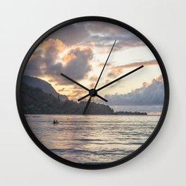 Sunset at Hanalei Bay, No. 3 Wall Clock