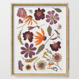 Garden Blooms Multicolor Pressed Flower Collage Serving Tray