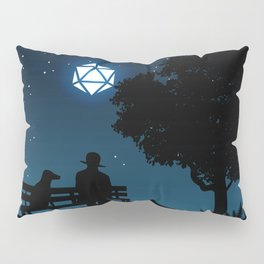 Man and Dog Under D20 Dice Full Moon Tabletop RPG Landscapes Pillow Sham