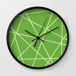 Lines 92 - lime and pale turquoise on greenery Wall Clock