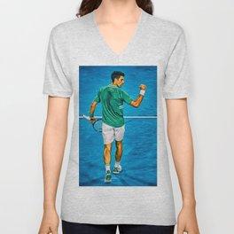 Novak Djokovic at Australian Open 2021. Come on gesture. Digital artwork print. Tennis fan art gift. Unisex V-Neck