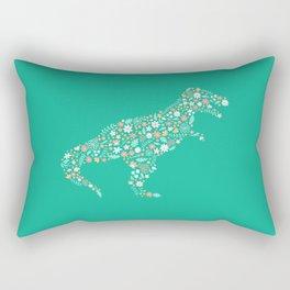 Floral T-Rex in Teal Rectangular Pillow