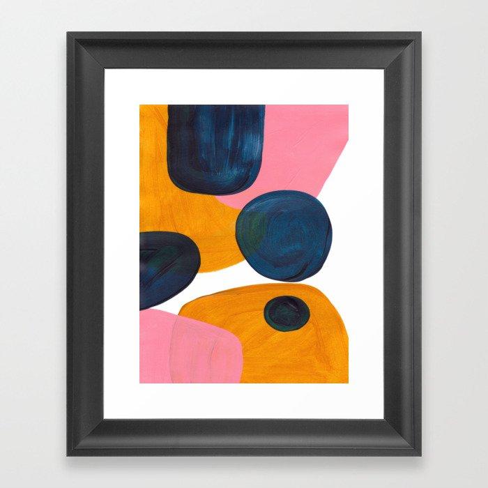 Mid Century Modern Abstract Minimalist Retro Vintage Style Pink Navy Blue Yellow Rollie Pollie Ollie Gerahmter Kunstdruck