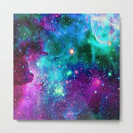 purple pink blue nebula Metal Print