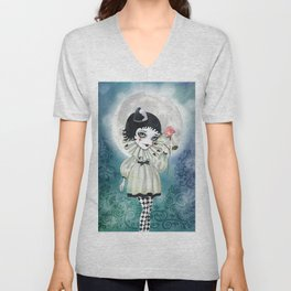 Pierrette Under the Icy Moon Unisex V-Neck