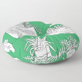Illustrated Plant Faces in Kelly Green Floor Pillow
