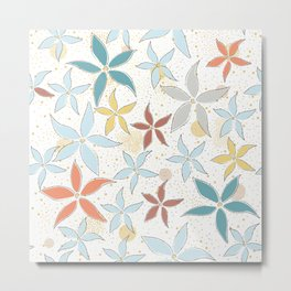 Seamless Pattern With Flowers Metal Print