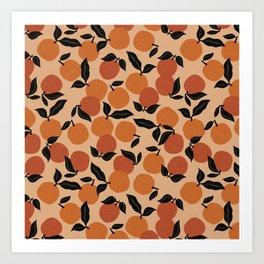 Seamless Citrus Pattern / Oranges Art Print