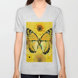 ABSTRACT BUTTER COLORED YELLOW BUTTERFLY FLORA Unisex V-Neck