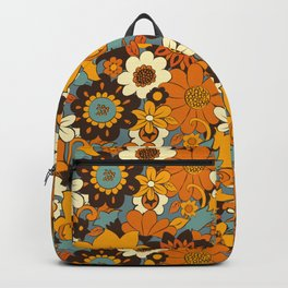 70s Retro Flower Power 60s floral Pattern Orange yellow Blue Backpack