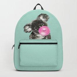 Playful Koala Bear with Bubble Gum in Green Backpack