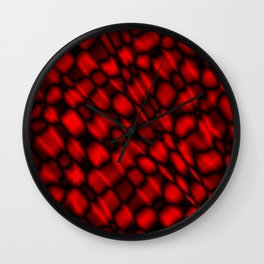 Drops in a red diagonal along the surface of the water on a metal film.  Wall Clock