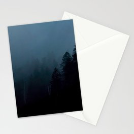 Pine Tree Silhouette With Dark Navy Blue Background Stationery Cards