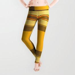 Argyle Fabric Plaid Pattern Autumn Colors Yellow and Black Leggings