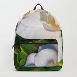 CREAMY WHITE MAGNOLIA FLOWER & GREEN LEAVES Backpack