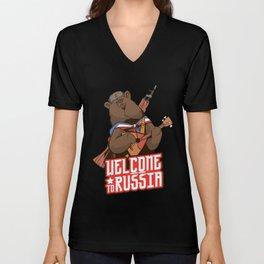 Russia Brown Bear Wildlife Nature Animal Unisex V-Neck