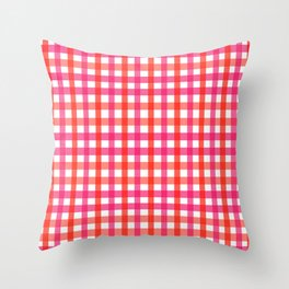 Gingham: Strawberry Flavor Throw Pillow