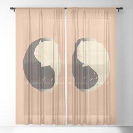 Hidden cat 9 Yin Yang kitty Sheer Curtain
