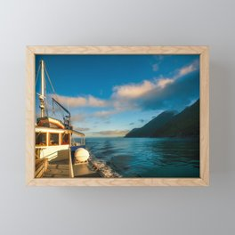 Beautiful morning light on a cruise at Milford Sound Framed Mini Art Print
