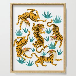 Cute tiger dance in the tropical forest hand drawn illustration Serving Tray