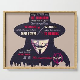 Enunciation of Truth // Comic, Anarchy, Revolution, Anonymous Serving Tray