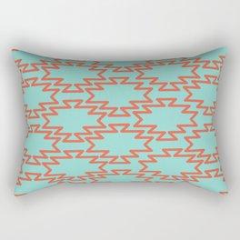Southwest Azteca Geo Pattern in Pink Grapefruit Red and Aqua Cyan Turquoise Rectangular Pillow