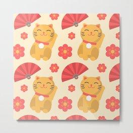 Japanese Lucky Cat Fan Flower Pattern Cute Metal Print