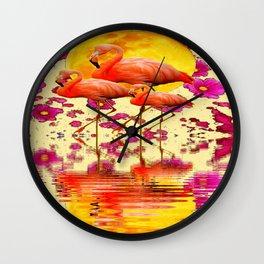 TROPICAL FLAMINGOS FUCHSIA FLORAL MOON ART Wall Clock