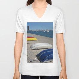 Chicago Shoreline, Skyline, Boats Unisex V-Neck