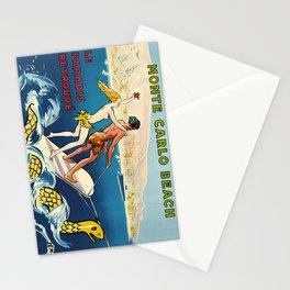 monte carlo beach   le paradis retrouvé. circa 1935  oude poster Stationery Cards