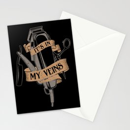 It's In My Veins | Barber Hairdresser Stationery Cards
