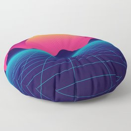 Throwback Sunset Synthwave Floor Pillow