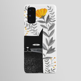 black cat with botanical illustration Android Case