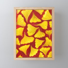 ginkgo biloba leaves in the fall pattern Framed Mini Art Print