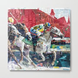 Abstract Race Horses Collage                                         Metal Print