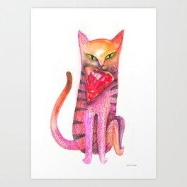 pet cat with precious prey Art Print