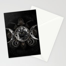 Triple Moon - Black cat Stationery Cards