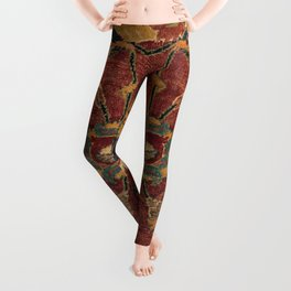 Flowery Boho Rug III // 17th Century Distressed Colorful Red Navy Blue Burlap Tan Ornate Accent Patt Leggings
