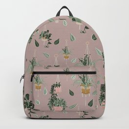 Modern Boho Macrame Plant Hangers Pattern Blush Pink Backpack