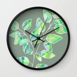 Green Digital Watercolour Painted Leaves Stem  Wall Clock