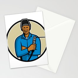 African American Welder Mascot Stationery Cards