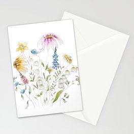 wild flowers and blue bird _ink and watercolor 1 Stationery Cards