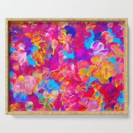 FLORAL FANTASY Bold Abstract Flowers Acrylic Textural Painting Neon Pink Turquoise Feminine Art Serving Tray