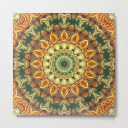 Flower Of Life Mandala (Sunflower Field) Metal Print