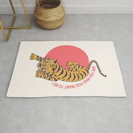 are you who you want to be - tiger poster Rug